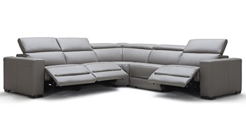 Modern Mirage Reclining Sectional with Power Headrests - Slate Top Grain Leather