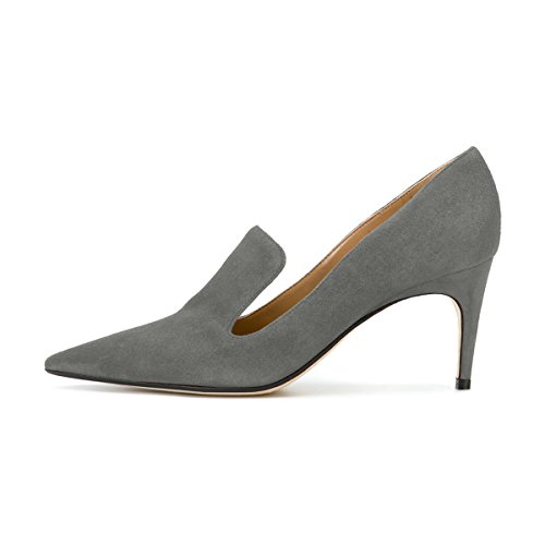 latest collections for sale YDN Women's Low Heels Slip On Loafer Stilettos Pumps Pointy Toe Slide Suede Prom Shoes Grey outlet buy 2014 newest 7wsyS