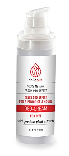Teliaoils Deodorant Foot Cream care. Foot moisturizer & odor eliminator. Stinky feet fighter, Antiperspirant. A Natural Long Lasting Protection from essential oils & herbal extracts. For healthy feet