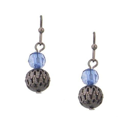 Vintage 1928 Costume Jewelry (1928 Jewelry Blue Bead Ball Drop Earrings)