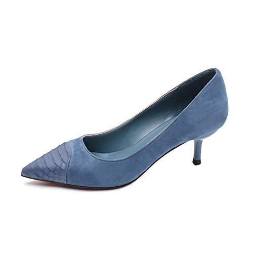 Zapatos Medio Cinco cm y Delgado Alto Azul Treinta de Tacon de KOKQSX Zapato Puntiaguda Cabeza Trabajo Zapatos de Tacon 5 Tacon 16Hx8p