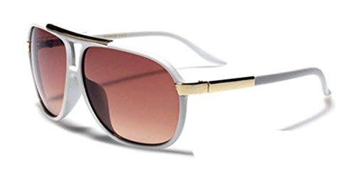 Aviator Vintage Womens Polarized Sunglasses Retro Eyewear (White) - 6