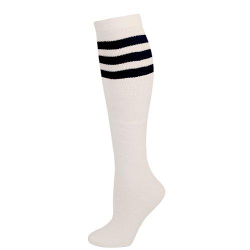 AJs Retro Knee High Tube Socks - White, Black-M ()