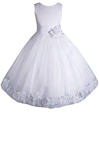 AMJ Dresses Inc Big Girls' White Flower Communion Dress E1008 Sz -