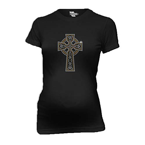 Celtic Cross Gold Silver Rhinestone Women's Maternity T-Shirt (Black, Small) ()