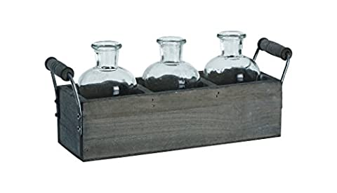 Transpac Wood Crate with Small Glass Vases