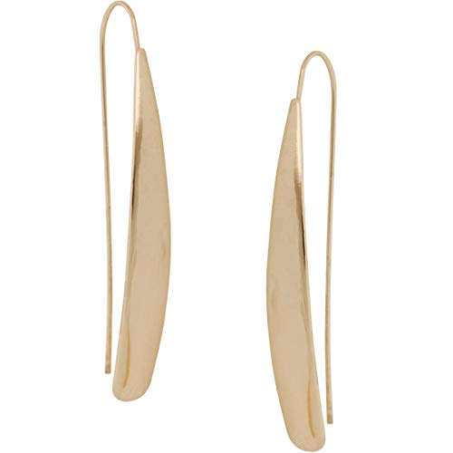 Humble Chic Curved Flat Bar Dangles - Metallic Long Linear Tear-Drop Shiny Polished Threader Earrings, High Shine Gold-Tone