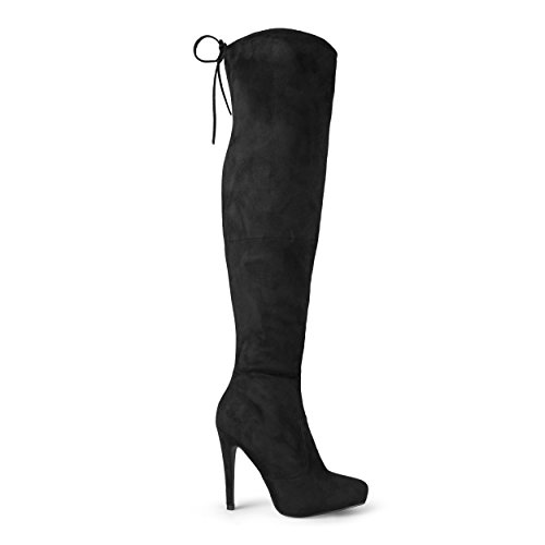 4 1/2 Boot Inch Knee (Brinley Co Women's Trick Over The Knee Boot, Black, 8 Regular US)