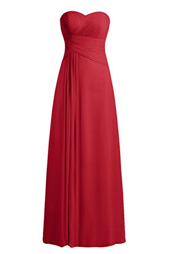 Bbonlinedress Vestido Formal Largo De Gasa De Fiesta De Noche Rojo Ocscuro