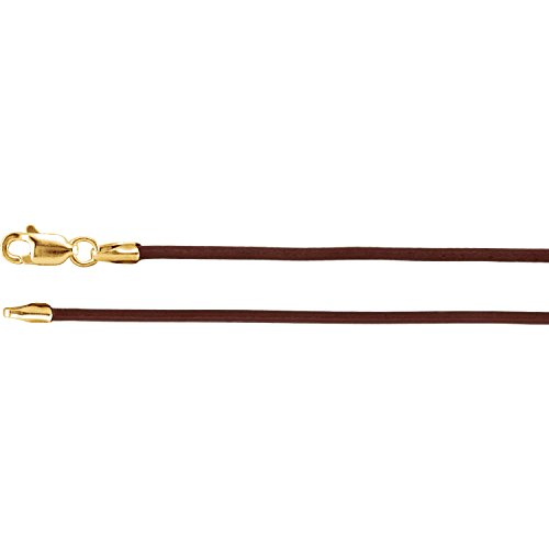 C.Hersh 14k Yellow Gold 0.06 inch Brown Leather Cord Necklace with Lobster Clasp -18 inch Length (Band Cincture)