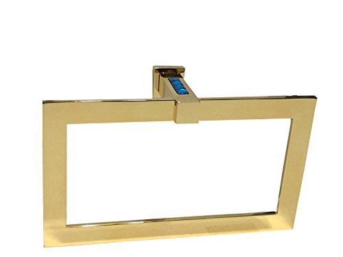 Windisch Crystal - W-Luxury Moonlight Rectangular Brass Towel Ring Holder, Blue Swarovski Crystals, Towel Hanger Wall Mounted Bath Towel Holder Hand Towel Ring Hanging Towel Hanger, Polished Gold (Blue Diamonds)