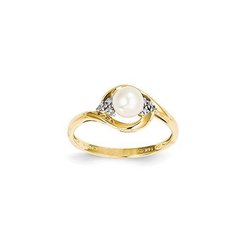 (Jewelry Best Seller 14K Diamond & FW Cultured Pearl Ring)