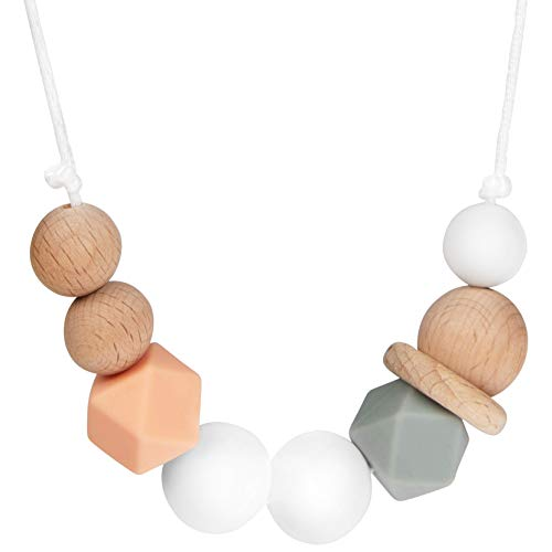 Baby Silicone Teething Necklace for Mom: Chewable Nursing and Teether Jewelry for Mom to Wear and Babies to Chew - Soft BPA Free Silicone and Wood Chewing Beads with Nylon String - White, Peach, Gray