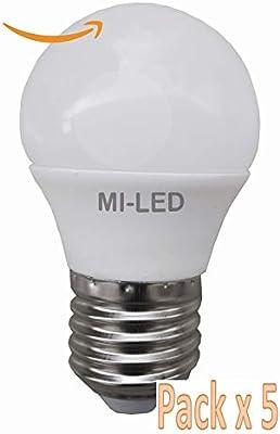 Pack 5 Bombillas Esféricas Led, Potencia 5 W, Casquillo E27, Color Luz fría 6500 K, Tecnología SMD, 240° Ángulo de Apertura, 80% Ahorro, Encendido Instantáneo: Amazon.es: Iluminación