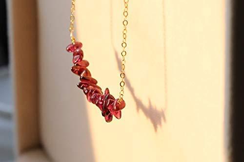 January Birthstone Necklace Keira Jewelry Garnet Bar Necklace 14k Gold Filled Gemstone Dainty Garnet Bar Necklace