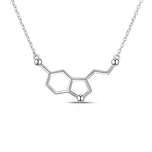 HN Happiness Serotonin Molecule Sterling Silver Necklace for Women,DNA Chemistry Science Pendant Jewelry for Teacher, Professor, Chemistry Grad, and Science Lovers (Jewelry Happiness)