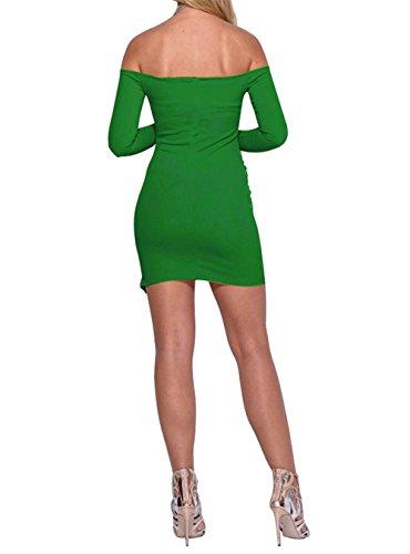 JOTHIN Damen Langarm Schulterfrei Clubwear Kleider Bodycon Pin-up Minikleid  Sexy Cocktailkleid Edel Ballkleid Grün ... f7cd59b3bc