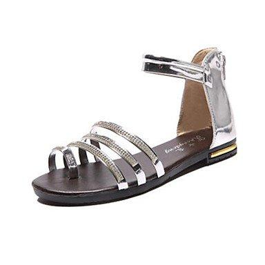 LvYuan Mujer-Tacón Plano-Confort-Sandalias-Vestido Informal-PU-Negro Oro Plata Black