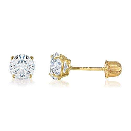 Ioka - 14K Yellow Gold Round Solitaire Cubic Zirconia CZ Stud Screw Back Earrings - 0.5ct (5mm)