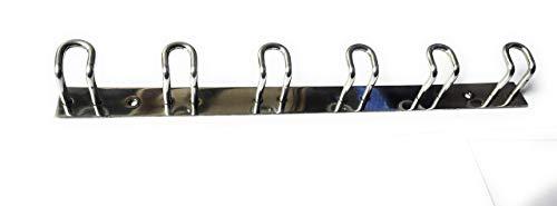 Royalty Stainless Steel Hooks 6 Pin Bathroom Cloth Hanger Robe Wall Door Hooks Rail for Hanging Keys,Clothes,Towel Steel Hook  1