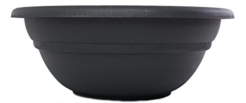 Bloem MB2124-00 Milano Planter Bowl, 24-Inch, Black by Bloem