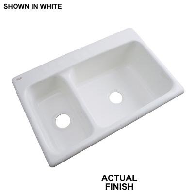 Thermocast Wyndham Drop-In Acrylic 33 in. 1-Hole Double Bowl Kitchen Sink in White