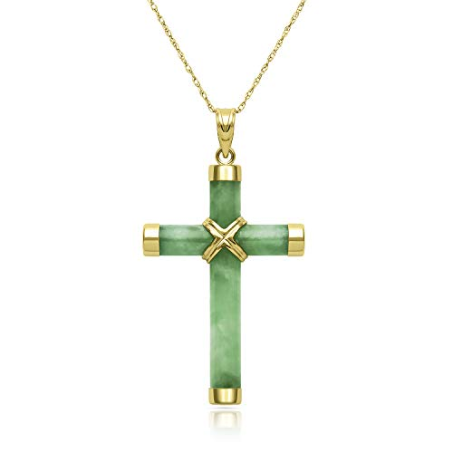 14k Yellow Gold Natural Jade Cross Necklace Charm, 18""