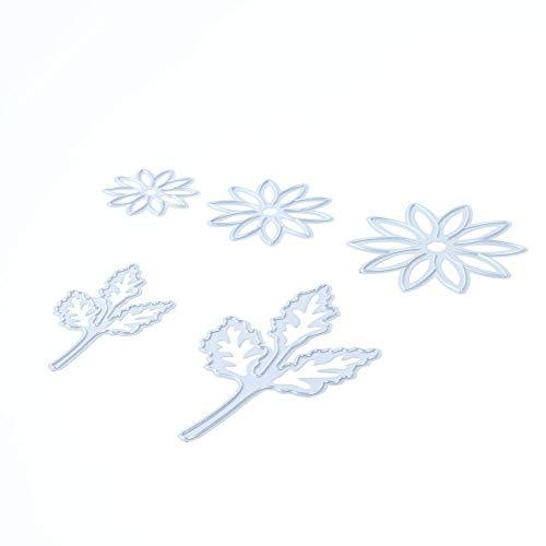 Whitelotous 5pcs Flower Leaves Cutting Dies Handmade DIY Stencils Template Embossing for Card Scrapbooking Craft (Die Cuttlebug Machine Cut)