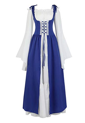 Dress Medieval Costume Women Long Renaissance Gown Irish Over Deluxe Victorian Vintage Cosplay Blue ()