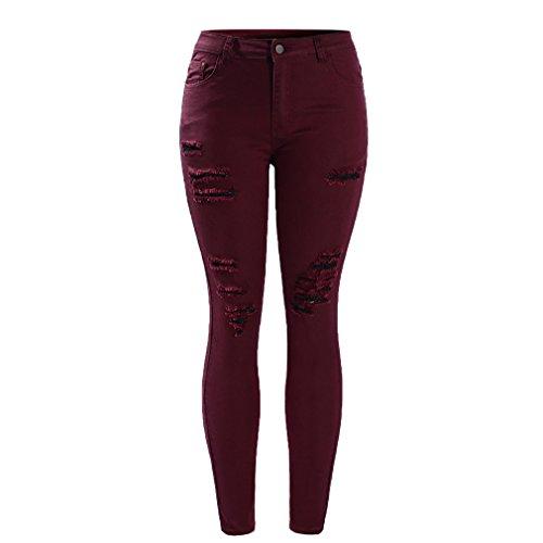 Pantalones vaqueros flacos mediados de talle alto de cintura alta de mujer borgoña para mujer Burgundy