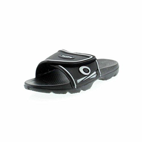 Fashy-Ciabatte da uomo, gomma EVA, con chiusura in velcro, colore: nero