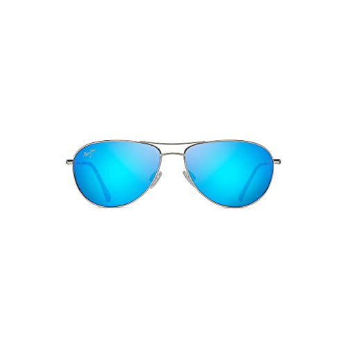 Maui Jim Sea House B772-17 | Polarized Aviator Frame Sunglasses, Silver-Blue Hawaii, with Patented PolarizedPlus2 Lens Technology
