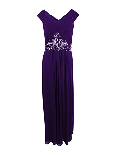 Alex Evenings Women's Long Beaded Cap Sleeve Gown Dress, Eggplant, 12