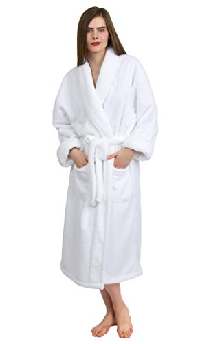 TowelSelections Women's Super Soft Plush Bathrobe Fleece Spa Robe Small/Medium White