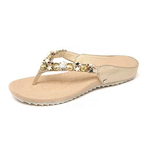 - Rebecca Women's Rhinestone Crystal Shining Stars T-Strap Slide Sandals Flip Flops Open Toe Flat Slippers Gold