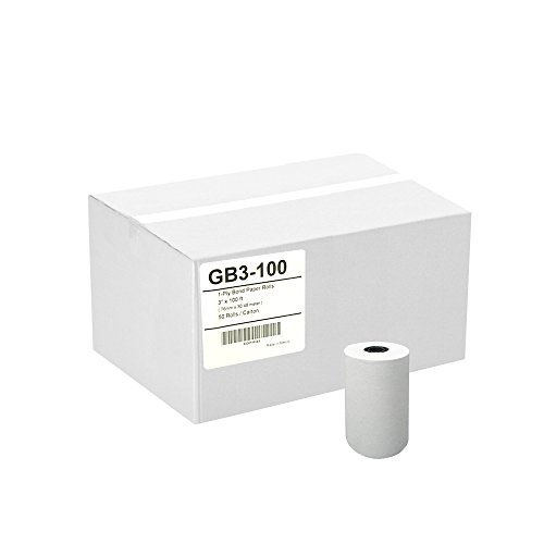 (GorillaSupply 3 x 100' 1-Ply Bond Paper Telecheck Eclipse T77 Non-thermal Paper Rolls 50/Case)