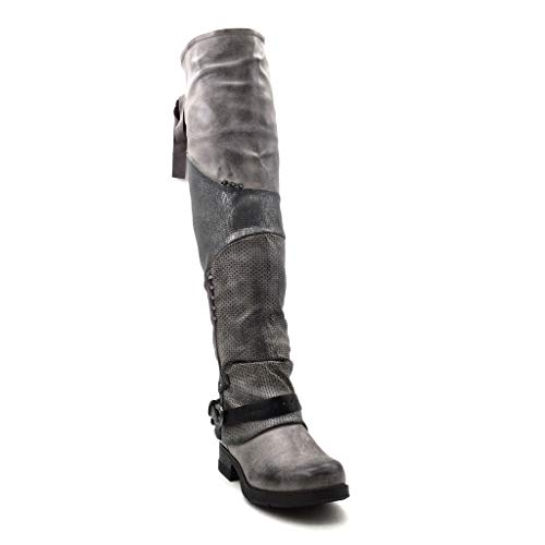 Cm Femme Gris Chaussure Noeud Botte Mode Boucle Cuissarde Motard 3 Bloc Intérieur 5 Fourrée Angkorly Lanière Talon Couverte Souple Légèrement x0ZqHwqvd