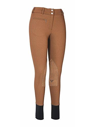 (TuffRider Women's Ribb Lowrise Wide Waistband Knee Patch Breech, Chocolate, 24)