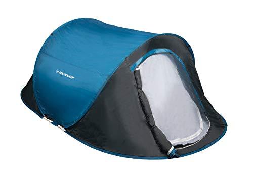 Dunlop Zelte Pop-up, Kuppelzelt Camping Outdoor Zelt, Blau/Grau – 1 – 2 Personen