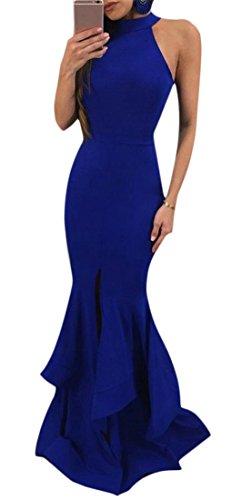 Sleeveless Split Blue Maxi Dress Women's Club Solid High Sapphire Mermaid Halter Cromoncent qEXwPP