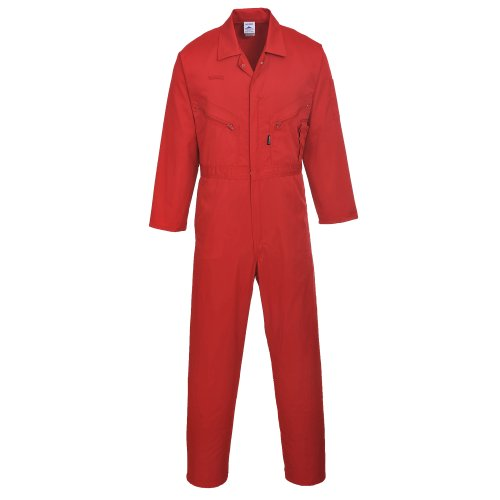 Red Coverall - Portwest Mens Liverpool Zip Up Protective Workwear Coverall (Large x Regular) (Red)