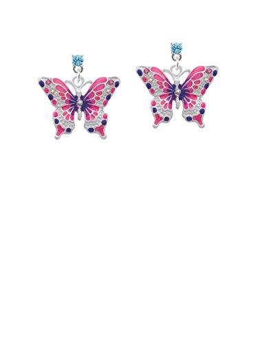Large Hot Pink & Purple Butterfly Hot Blue Crystal Post (Blue Enamel Butterfly Post Earrings)