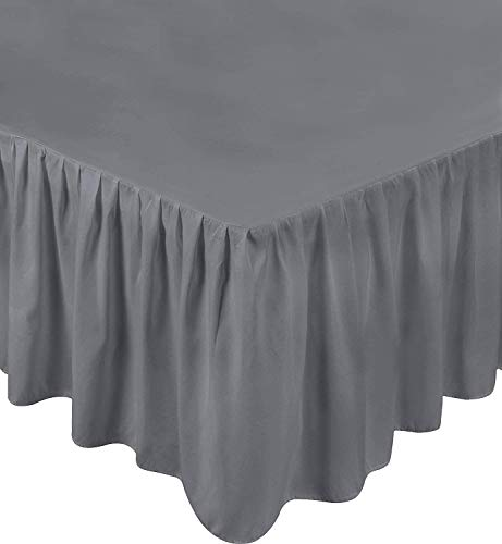 Utopia Bedding Grey Microfiber King Size 15-Inch Drop Ruffle