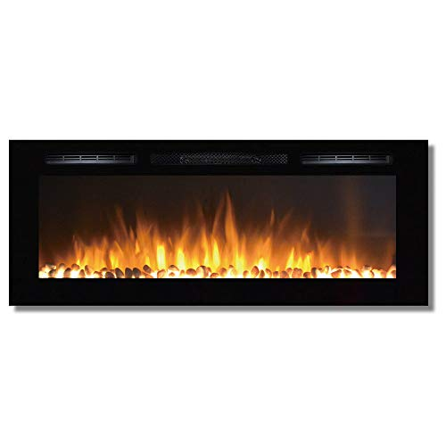 "Regal Flame Fusion 50"" Pebble Built-in Ventless Recessed Wall Mounted Electric Fireplace Better Than Wood Fireplaces, Gas Logs, Inserts, Log Sets, Gas, Space Heaters, Propane"