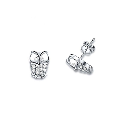 Mel Crouch Cute Owl Stud Earrings Rose Gold / Silver Plated Crystal Earrings for Women Girl (Style 1) (Origami Earrings Owl)