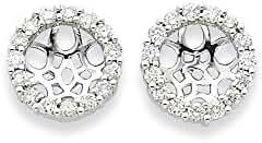 14K White Gold Diamond Earring Jackets, 14 kt White Gold