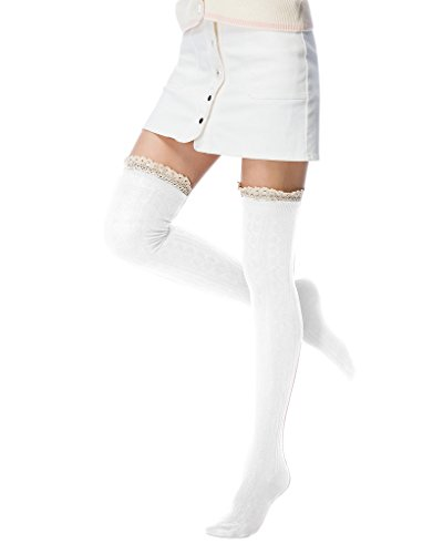 Fashion Extra Cotton Thigh High Socks light (White Socks Jeans)