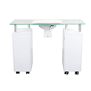 Manicure Table GLASS GLOW WHITE Salon Nail Furniture Equipment