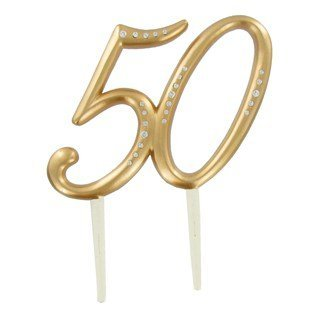 Gold 50th Anniversary Cake Topper (50th Anniversary Cake)
