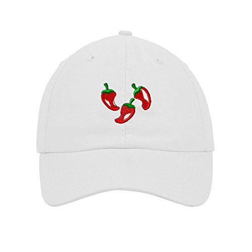 Southwest Chili Peppers Embroidered Soft Unstructured Hat Baseball Cap White (Chili Pepper Hat)